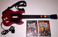 Sony Playstation 2 PS2 Guitar Hero Guitar Red Octane Bundle With Strap & Games