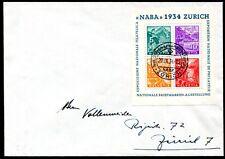 SCHWEIZ 1934 BLOCK1 R-FDC ERSTTAGSBRIEF 1500€(Z8124