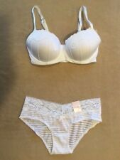 Candies *Bra Set* White Balconette Push Up 34A Bra & Small Hipster Panty
