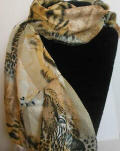 "Leopard Scarf 60 x 13"" Symphony Scarves Never Worn Tags"