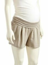 23abdcd022f23 NWT Old Navy Maternity Linen Blend Khaki Full Panel Roll Over Shorts Large  12 14