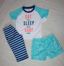 NEW~CARTERS TODDLER BOY 3 PIECE WHITE/BLUE SURF PAJAMAS SIZE 18 MONTHS