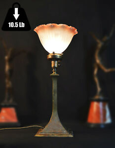 Magnificent Victorian C1850 cast bronze table lamp rare tinted holophane shade