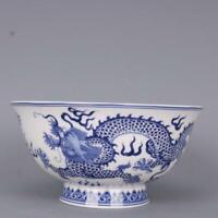 "6.1"" Fine Chinese Jingdezhen Blue White Porcelain Two Animal Dragons Bowl"