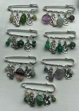 Artist Themed Charms & Stone or Crystal Beads on 5cm Silver Plated Kilt Pins
