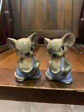 Anthropmorphic Mouse In Jumpsuit Salt And Pepper Shakers, Vintage Collectible