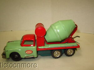 VINTAGE JAPAN SANESU SSS CONCRETE MIXER CONSTRUCTION TRUCK TIN FRICTION TOY