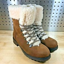 NEW UGG FRASER CHESTNUT LEATHER/ SHEEPSKIN WINTER LACE-UP BOOTS US 6