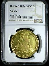 Spanish Colonial Mexico 1810 Mo HJ Gold 8 Escudos *NGC AU-55* Rare 5 Year Type