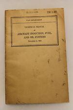"Original WW2 U.S. War Department ""Aircraft Induction,Fuel, Oil'' Book, 1941 d."