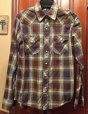 American Eagle Outfitters Western cowboy pearl Plaid Men's Shirt Size XS NEW WOT