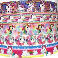 "Grosgrain Ribbon 7/8"" ( 5 Yard mixed lot ) Unicorns Unicorn LT2 BULK Printed"