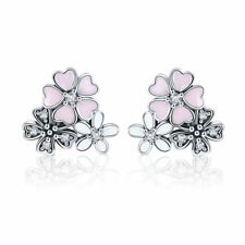Christmas 925 Sterling Silver Cherry Blossoms Earrings Charm Zircon Girl Jewelry