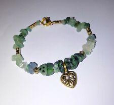 Beautiful LOVEHEART bracelet RUBY IN ZOISITE, FLUORITE & AVENTURINE chips 19.5cm