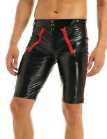 Sexy Männer Lack Leder Wetlook Shorts Glanz Underpants Kurze Hose Zipper Schwarz
