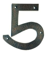 #5  Hammered copper house number. Craftsman/ Arts and Crafts. 6 inch high