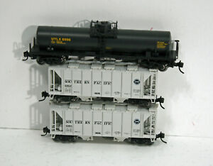 3 N Kato cars different #s -- 2 SP hoppers , 1 UTLX tank car -- New out of Set