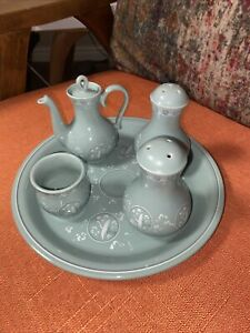 Chinese Celadon Set Of Small Teapot, Cup, Shakers and Plate