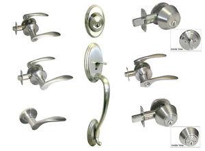 Satin Nickel door knob lever entry privacy passage deadbolt Brushed Nickel locks