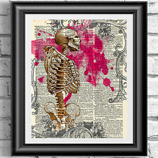Art print on antique book page dictionary Gothic anatomical skeleton poster.