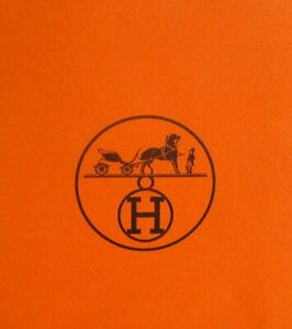 Hermes Paris Orange Paper Shopping Bag