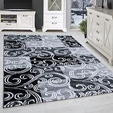 Kurzflor Teppich Patchwork Design Optik Tribal Muster Grau Schwarz Meliert