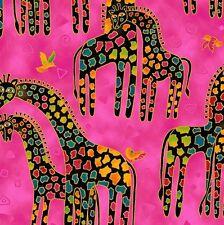 Mythical Jungle Giraffe Toile Y2136-74M Raspberry w/Metallic by Laurel Burch BTY