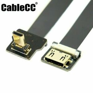 Cablecc Up Angled 90D Micro HDMI Male to Mini HDMI Female FPC Cable for FPV HDTV