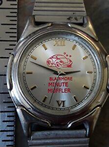 Vintage Minute Muffler Blairmore Alberta ESP Advertising Quartz Wrist Watch