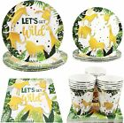 Cieovo Jungle Animal Party Supplies - Serves 16 Guest Includes Party Dinner Plat