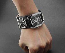 Men's Punk Biker Skull Iron Cross Leather Bracelet Wristwatch Cool Gift