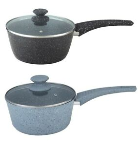 20CM MARBLE COATED ALUMINIUM NON-STICK SAUCEPAN FORGED SAUCE POT WITH GLASS LID
