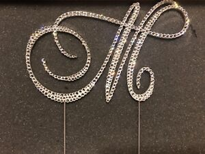 "3.5"" High Crystal Silver Tone Letter M Wedding Bridal Cake Topper"