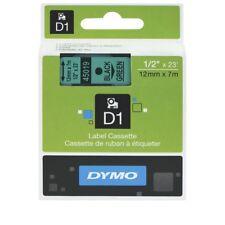 SD45019DYMO D1 Label Printer Tape Cassette 12mm x 7m - Black on Green Genuine