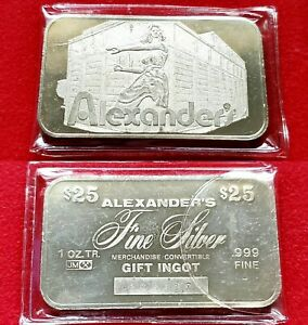 Vintage Johnson Matthey Alexander's $25 Gift Ingot - 1 troy oz .999 Silver Bar