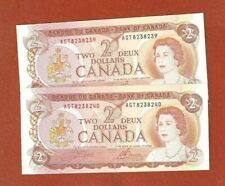 2 1974 Consecutive  Serial Number Two Dollar Bank Notes Gem Uncirculated G197
