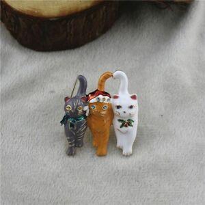 Cute Christmas X-Mas CAT TRIO Novelty Rhinestone BROOCH Gift Dress Accessory