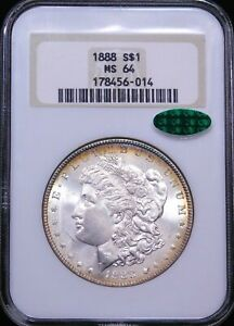 1888 Morgan Silver Dollar NGC MS64 CAC White Gold Rims Frosty Luster PQ #G172