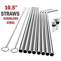 "10.5"" Long Stainless Steel Metal Drinking Straws Fits Yeti RTIC Tumbler 20 30 oz"