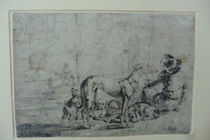 DUTCH SCHOOL 17thC - ITALIANATE SCENE - MAN AND DOGS SIGN. STOOP - INK DRAWING