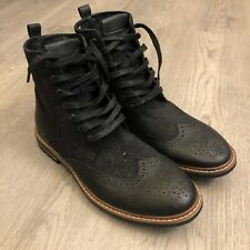 Robert Wayne Mens Black Leather Wingtip Ankle Boots Lace Up Size 10 D New
