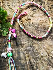 hair wrap, braid, pink, purple, green, Tibetan silver, 31/35cm, clip, plait in