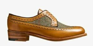 Bespoke Handmade Women's Genuine Tan Leather & Fabric Brogues Lace up Shoes