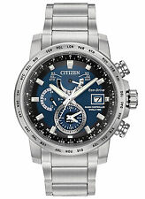 New Citizen Eco Drive Radio Controlled Solar Watch 200m Blue Dial AT9070-51L