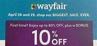 Wayfair - 10% off COUPON (Exp 6/18/2021) - Wayfair.com discount card certificate