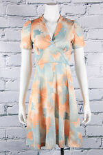 VTG 70s MOD Lovely *ORANGE SHERBET* Leafy BABYDOLL Dolly Scooter MINI DRESS XS-S