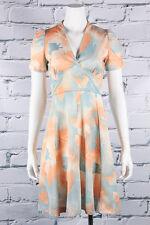 VTG 70s MOD Lovely *ORANGE SHERBET* Leafy BABYDOLL Dolly Scooter MINI DRESS XS-S