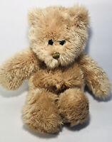 "SKM Golden Brown Tan Floppy Teddy Bear Plush with Gold Bow 16"""