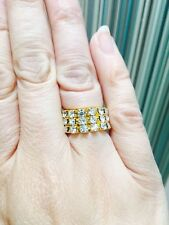 Gold Tone Diamonte / Diamante 3 Row Stretchy Ring - BRAND NEW!! FREE P&P!!
