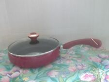 "PAULA DEEN  2.75 QUART PAN~ ""RED"" SPECKLE~NEW SKILLET WITH GLASS LID~10"""